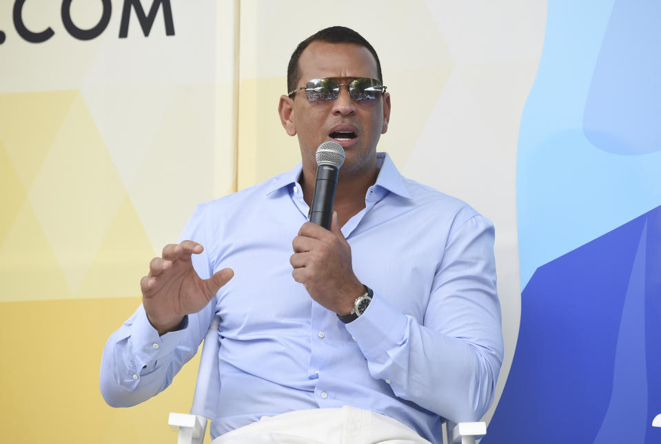 Former professional baseball player and entrepreneur Alex Rodriguez speaks at OZY Fest in Central Park on Saturday, July 21, 2018, in New York. (Photo by Evan Agostini/Invision/AP)