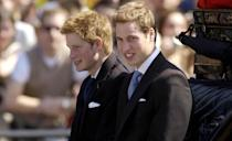 Brothers William and Harry in their teenage years, during the carriage procession (PA Images)
