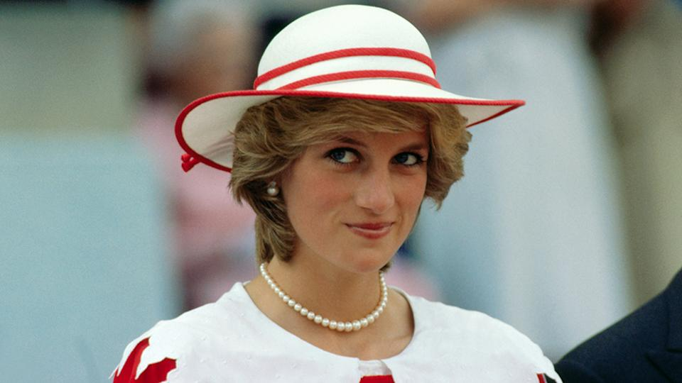 Princess Diana in red and white outfit