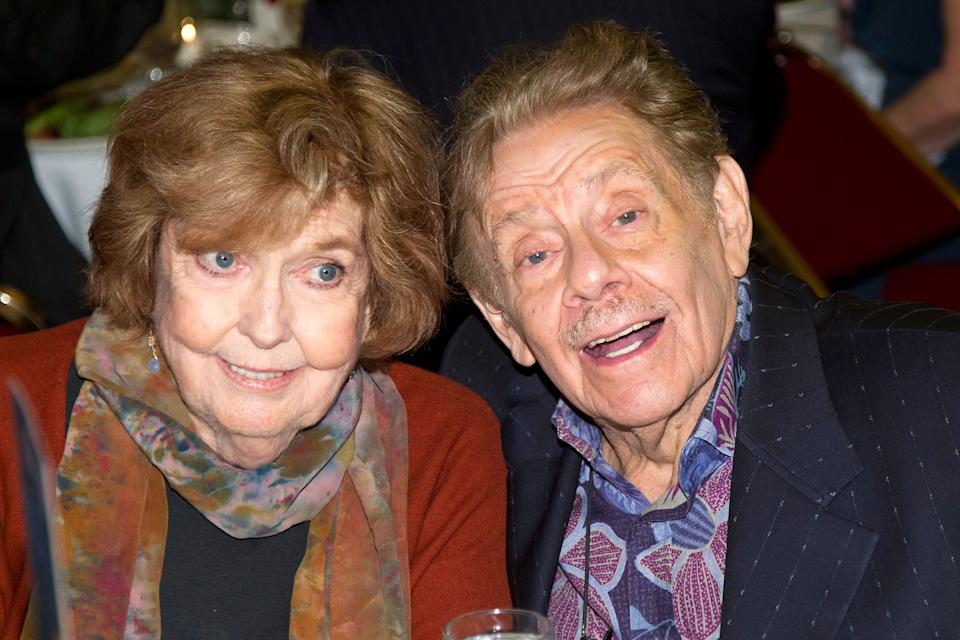 NEW YORK, NY - MAY 24:  Actors Anne Meara and Jerry Stiller attends the 62nd Annual Outer Critics Circle Awards at Sardi's on May 24, 2012 in New York City.  (Photo by Ben Hider/Getty Images)