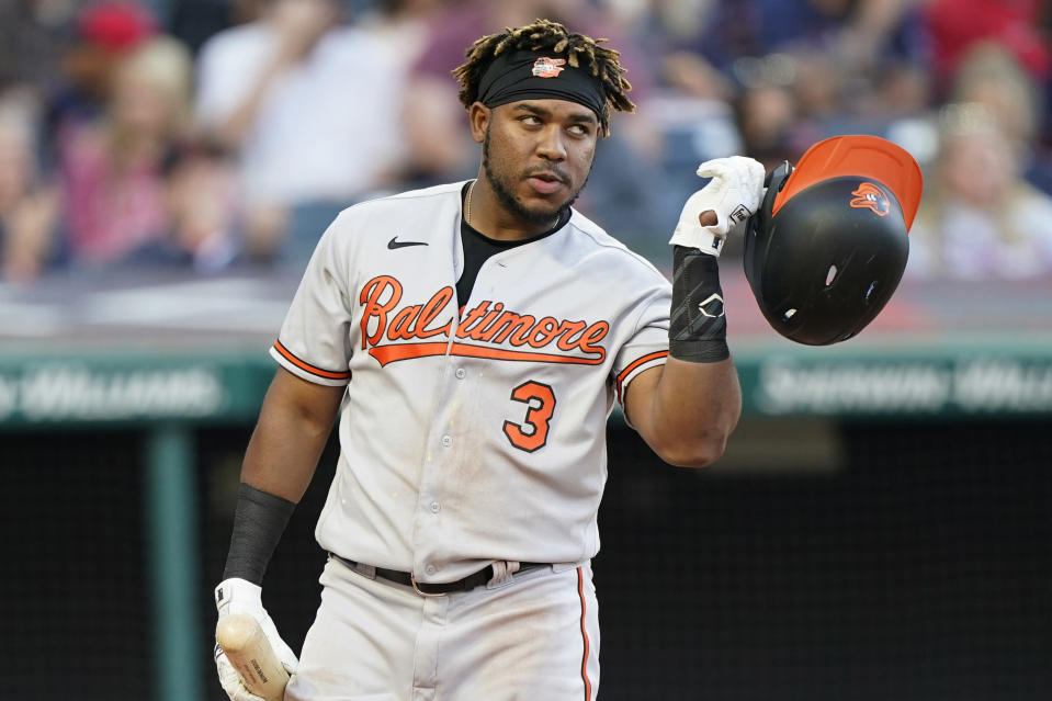 Baltimore Orioles' Maikel Franco reacts after striking out in the fourth inning of a baseball game against the Cleveland Indians, Tuesday, June 15, 2021, in Cleveland. (AP Photo/Tony Dejak)