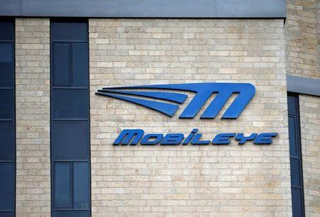 The logo Israeli driverless technology firm Mobileye is seen on the building of their offices in Jerusalem