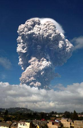 Ash from Mount Sinabung volcano rises to an approximate height of 5,000 meters during an eruption in Karo, North Sumatra, Indonesia  February 19, 2018  in this photo taken by Antara Foto.  Antara Foto/Maz Yons/ via REUTERS