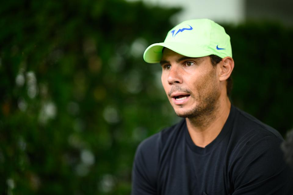 WASHINGTON, DC - AUGUST 1: Rafael Nadal (ESP) speaks with press on Media Day ahead of the 2021 Citi Open at Rock Creek Park Tennis Center on August 1, 2021 in Washington, DC. (Photo by Mike Lawrence/ISI Photos/Getty Images)