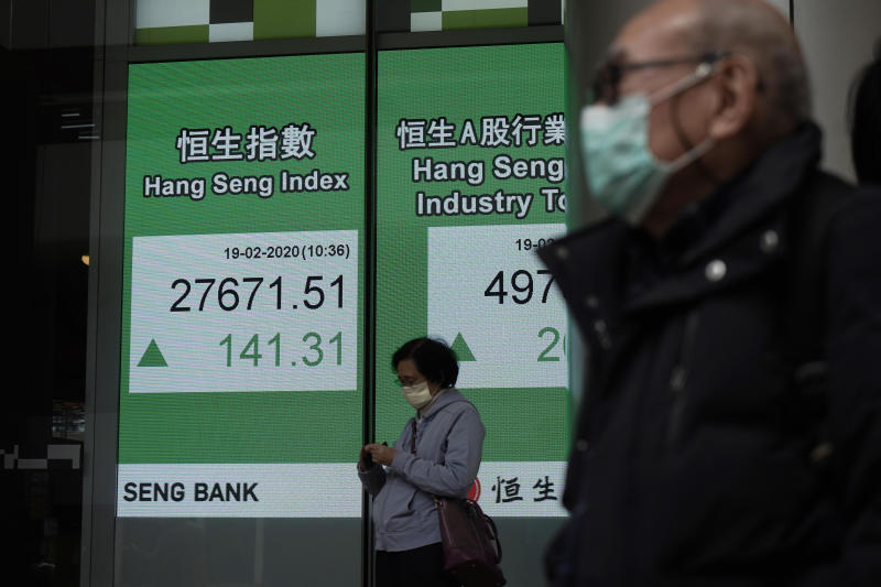 People walk past an electronic board showing Hong Kong share index outside a local bank in Hong Kong, Wednesday, Feb. 19, 2020. Asian shares are mostly rising despite continuing fears about an outbreak of a new virus that began in China, which sent regional indexes mostly lower recently. (AP Photo/Kin Cheung)
