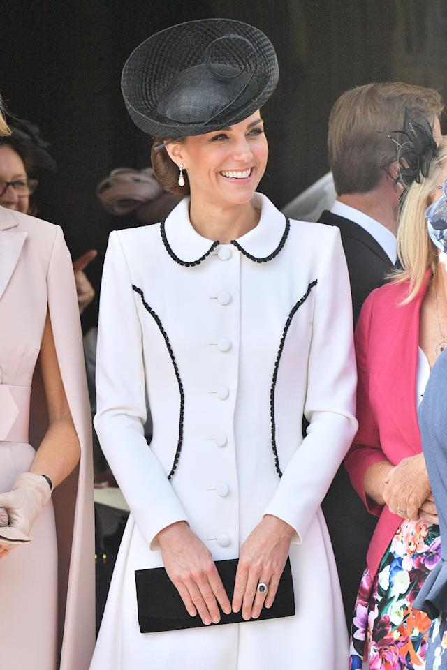 "Kate Middleton attended <a href=""https://people.com/royals/kate-middleton-order-garter-ceremony-prince-william-queen-elizabeth-dutch-spanish-royals/"" target=""_blank"">the annual celebration of the Order of the Garter</a> at Windsor Castle wearing a chic black and white coat from Catherine Walker & Co. and matching black Lock & Co. hat.  <strong>Get the Look!</strong>  Cupcakes and Cashmere Xander Tie Waist Jacket, $49.97 (orig. $118); <a href=""https://www.pntrac.com/t/8-10134-131940-120793?sid=PEO%2CShopping%3AEverythingYouNeedtoCopyKateMiddleton%E2%80%99sSummerStyle%2Ckamiphillips2%2CUnc%2CGal%2C7115494%2C201907%2CI&url=https%3A%2F%2Fwww.nordstromrack.com%2Fshop%2Fproduct%2F2863118%2Fcupcakes-and-cashmere-xander-tie-waist-jacket%3Fcolor%3DIVORY"" target=""_blank"" rel=""nofollow"">nordstromrack.com</a>  NIC + ZOE First Class Fringe Trim Jacket, $133.50 (orig. $178); <a href=""https://click.linksynergy.com/deeplink?id=93xLBvPhAeE&mid=13867&murl=https%3A%2F%2Fwww.bloomingdales.com%2Fshop%2Fproduct%2Fniczoe-first-class-fringe-trim-jacket%3FID%3D3187582&u1=PEO%2CShopping%3AEverythingYouNeedtoCopyKateMiddleton%E2%80%99sSummerStyle%2Ckamiphillips2%2CUnc%2CGal%2C7115494%2C201907%2CI"" target=""_blank"" rel=""nofollow"">bloomingdales.com</a>  Vince Camuto Colorblock Jacket, $149; <a href=""https://click.linksynergy.com/deeplink?id=93xLBvPhAeE&mid=13867&murl=https%3A%2F%2Fwww.bloomingdales.com%2Fshop%2Fproduct%2Fvince-camuto-color-block-jacket%3FID%3D3252951&u1=PEO%2CShopping%3AEverythingYouNeedtoCopyKateMiddleton%E2%80%99sSummerStyle%2Ckamiphillips2%2CUnc%2CGal%2C7115494%2C201907%2CI"" target=""_blank"" rel=""nofollow"">bloomingdales.com</a>  Cupcakes and Cashmere Aletta Coat, $115.70 (orig. $178); <a href=""https://click.linksynergy.com/deeplink?id=93xLBvPhAeE&mid=42352&murl=https%3A%2F%2Fwww.shopbop.com%2Faletta-coat-cupcakes-cashmere%2Fvp%2Fv%3D1%2F1595457865.htm&u1=PEO%2CShopping%3AEverythingYouNeedtoCopyKateMiddleton%E2%80%99sSummerStyle%2Ckamiphillips2%2CUnc%2CGal%2C7115494%2C201907%2CI"" target=""_blank"" rel=""nofollow"">shopbop.com</a>  Alice + Olivia Indiri Strong Shoulder Check Jacket, $895; <a href=""https://click.linksynergy.com/deeplink?id=93xLBvPhAeE&mid=1237&murl=https%3A%2F%2Fshop.nordstrom.com%2Fs%2Falice-olivia-indiri-strong-shoulder-check-jacket%2F5292117&u1=PEO%2CShopping%3AEverythingYouNeedtoCopyKateMiddleton%E2%80%99sSummerStyle%2Ckamiphillips2%2CUnc%2CGal%2C7115494%2C201907%2CI"" target=""_blank"" rel=""nofollow"">nordstrom.com</a>"