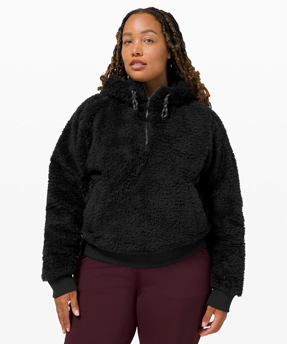 """<h3>Oh So Sherpa Half Zip<br></h3><br>Achieve peak cozy vibes with this shaggy half-zip jacket, which is the transitional dressing layer you'll have on repeat this fall.<br><br><strong>What They're Saying:</strong> """"I love this sweatshirt! It is honestly so warm and cozy — perfect for working from home.""""<br><br><strong>lululemon</strong> Oh So Sherpa Half Zip, $, available at <a href=""""https://go.skimresources.com/?id=30283X879131&url=https%3A%2F%2Fshop.lululemon.com%2Fp%2Fcold-weather%2FOh-So-Sherpa-Half-Zip%2F_%2Fprod9960770%3Fcolor%3D26083"""" rel=""""nofollow noopener"""" target=""""_blank"""" data-ylk=""""slk:lululemon"""" class=""""link rapid-noclick-resp"""">lululemon</a>"""