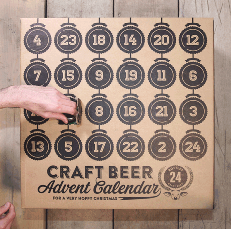 """<p>Enjoy a glorious festive season full of superb saisons, stouts, pilsners and ales. Featuring a seasonal selection of daily surprises from Brooklyn Brewery's dark chocolate stout to Flying Dog. </p><p>£74.99 <a href=""""http://www.craftbeeradventcalendar.co.uk/"""" rel=""""nofollow noopener"""" target=""""_blank"""" data-ylk=""""slk:Craft Beer Advent Calendar"""" class=""""link rapid-noclick-resp"""">Craft Beer Advent Calendar</a></p>"""
