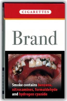 A cigarette pack warning unveiled by the European Health and Consumer Protection Commissioner in 2004.