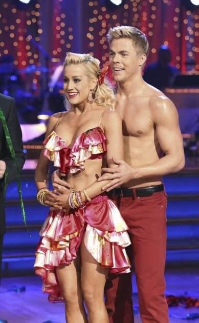 Kellie Pickler and Derek Hough listen to the judges on 'Dancing with the Stars,' April 29, 2013 -- ABC