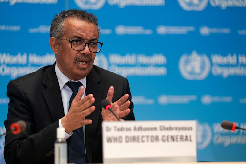 Tedros Adhanom Ghebreyesus, Director General of the World Health Organization (WHO) attends the signing of the memorandum of understanding between WHO and the WHO Foundation in Geneva, Switzerland, May 27, 2020. Christopher Black/WHO/Handout via REUTERS THIS IMAGE HAS BEEN SUPPLIED BY A THIRD PARTY