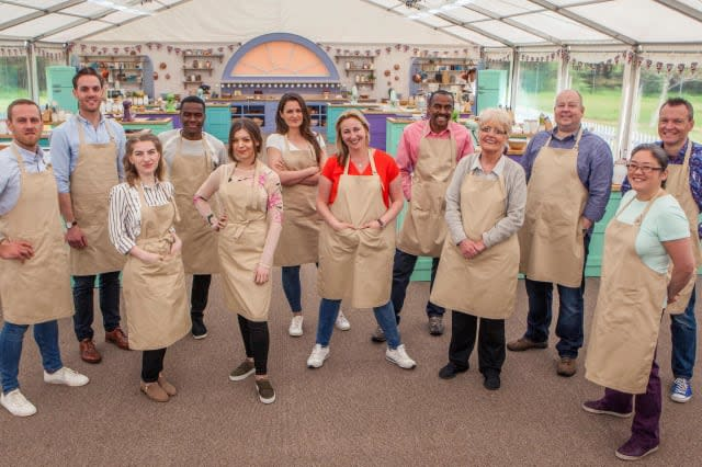 The Great British Bake Off, Back row L to R: Steven, Tom, Liam, Sophie, Peter, James, Chris. Front Row L to R: Julia, Kate, Stacey, Flo, Yan