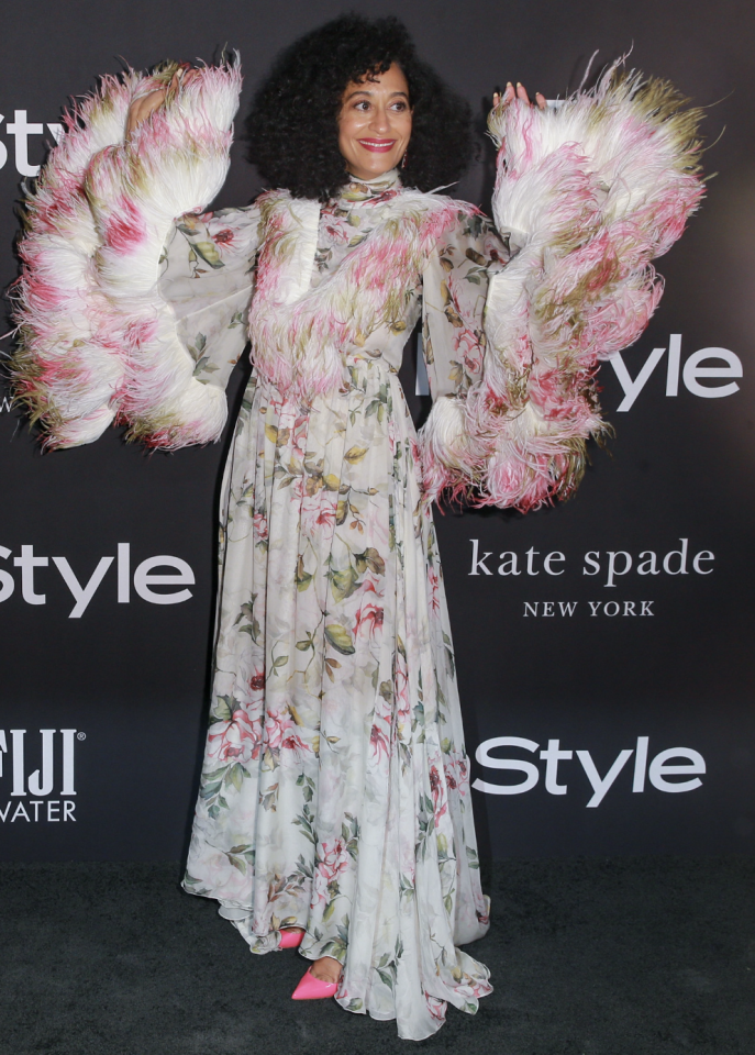 <p>Tracee Ellis Ross wearing a sensational floral number by Giambattista Valli complete with feathered sleeves at the InStyle Awards. <i>[Photo: Getty]</i> </p>