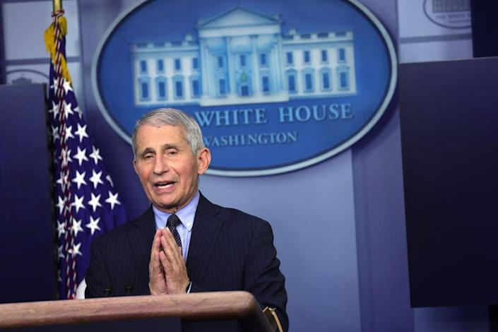 Dr Anthony Fauci is urging all Americans to get their Covid vaccine when they're eligible, saying all three are 'highly efficacious.' (Getty Images)
