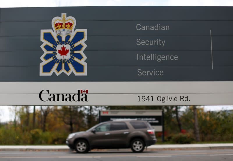 FILE PHOTO: A sign is pictured outside the CSIS headquarters in Ottawa