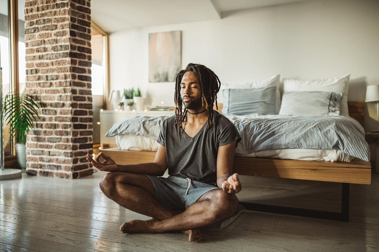 """<p>Meditating is another therapist-approved way to manage your anxiety. """"Using <a href=""""https://www.popsugar.com/fitness/Best-Meditation-Apps-44978435"""" class=""""ga-track"""" data-ga-category=""""Related"""" data-ga-label=""""https://www.popsugar.com/fitness/Best-Meditation-Apps-44978435"""" data-ga-action=""""In-Line Links"""">guided meditation apps</a> are a free and accessible way to manage anxiety,"""" said Nastassja Marshall, PhD, LCP, and founder of <a href=""""https://www.renewal-therapy.com/"""" target=""""_blank"""" class=""""ga-track"""" data-ga-category=""""Related"""" data-ga-label=""""https://www.renewal-therapy.com/"""" data-ga-action=""""In-Line Links"""">Renewal Therapy</a>. She recommends setting aside 20 minutes each day to meditate to lower anxiety and improve your emotion regulation.</p>"""