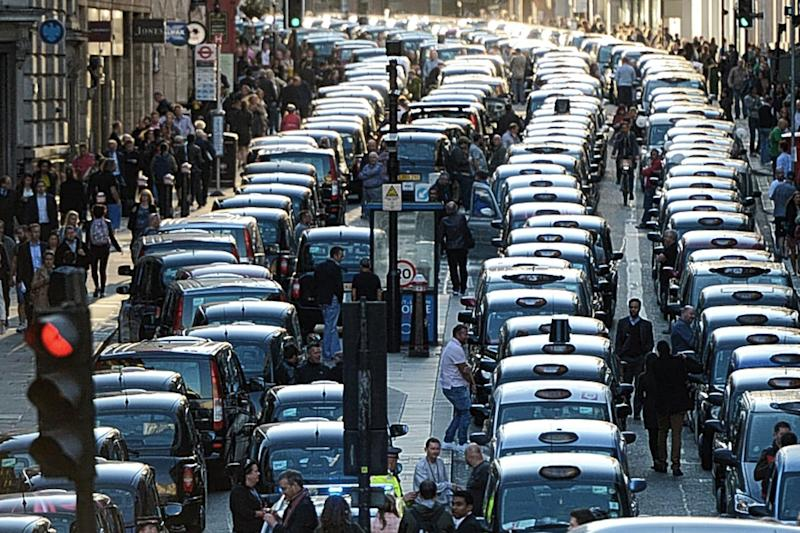 A similar black cab protest against Uber in 2015: Anthony Devlin/PA Wire