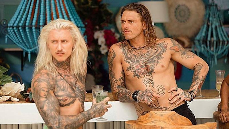Timm Hanly and Ciarran Stott shirtless at a bar on set of Bachelor In Paradise 2020
