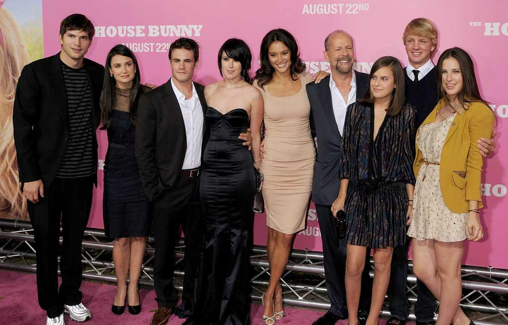 "It was a family reunion of sorts as Bruce Willis, Demi Moore, and Ashton Kutcher attended the L.A. premiere of daughter Rumer's new comedy, ""The House Bunny."" The last time they shared a red carpet together was five years ago. Paul Morigi/<a href=""http://www.wireimage.com"" target=""new"">WireImage.com</a> - August 18, 2008"