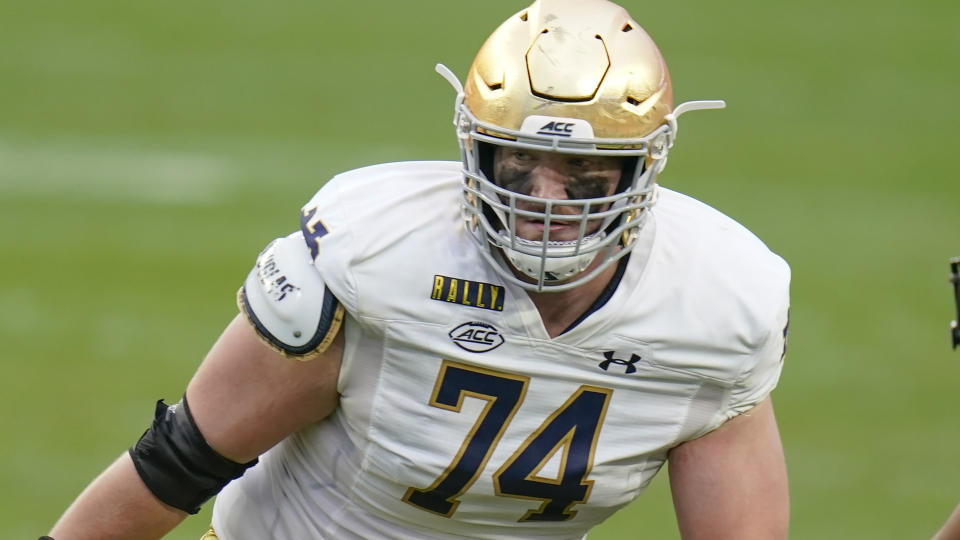Notre Dame offensive lineman Liam Eichenberg might be a left tackle in the NFL. (AP Photo/Keith Srakocic)
