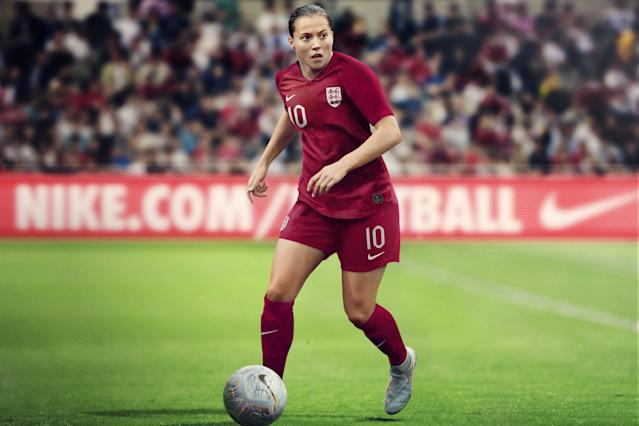 <p>The stunning away kit is a dark red crush colour, which is a unique darker shade exclusively for the women's team, and incorporates the St. George's Cross on the shirt and a tonal crest unique to the Lionesses. </p>