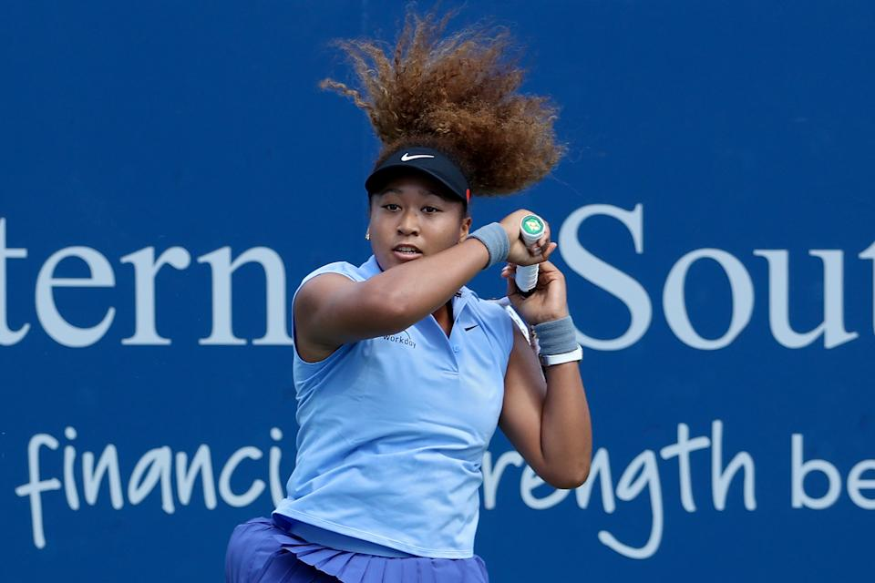 Naomi Osaka is seen here during her match against Coco Gauff at the Western & Southern Open in Cincinnati.