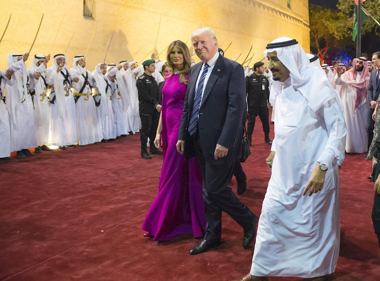 King Salman (right) welcomes the Trumps ahead of a dinner at Murabba Palace in Riyadh, Saudi Arabia, on May 20, 2017.