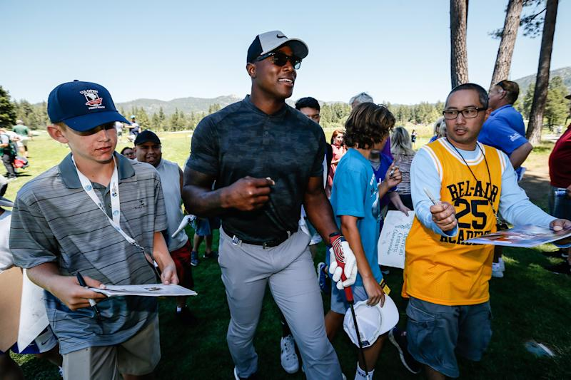 STATELINE, NEVADA - JULY 11: DeMarcus Ware walks off of the 10th hole at Edgewood Tahoe Golf Course on July 11, 2019 in Stateline, Nevada. (Photo by Jonathan Devich/Getty Images)