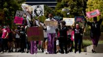 Supporters hold signs during a rally for pop star Britney Spears during a conservatorship case hearing at Stanley Mosk Courthouse in Los Angeles