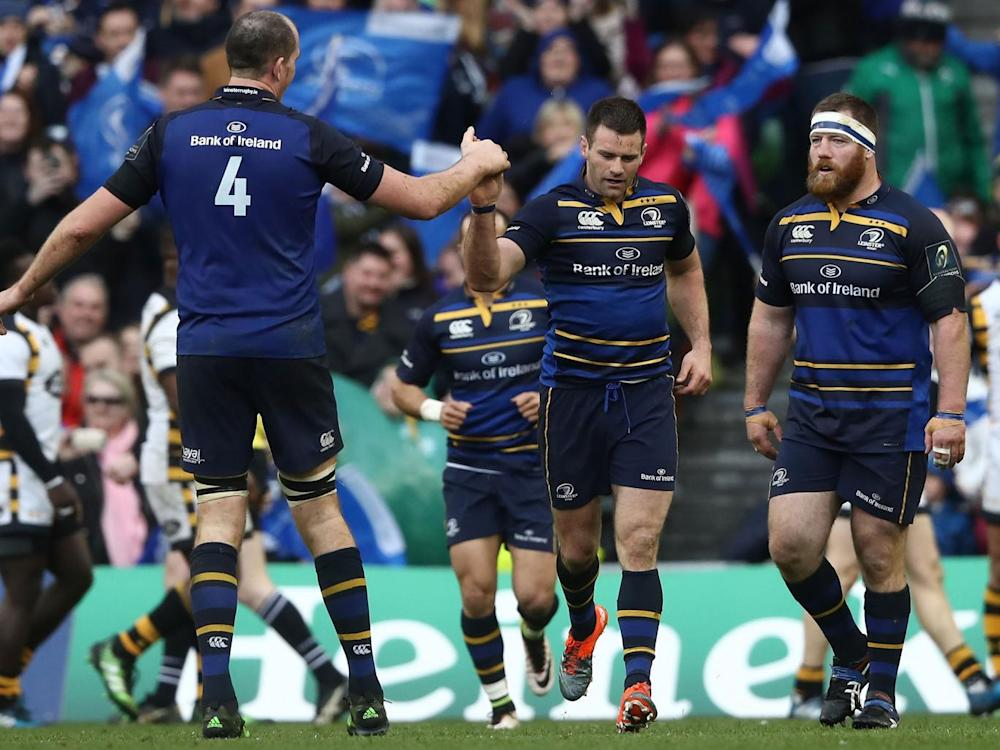 Fergus McFadden is congratulated by Devin Toner (L) after scoring for Leinster (Getty)