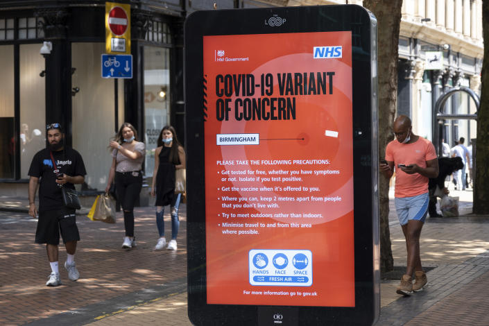 An NHS notice warns about COVID-19 variants in Birmingham, U.K. (Mike Kemp/In Pictures via Getty Images)