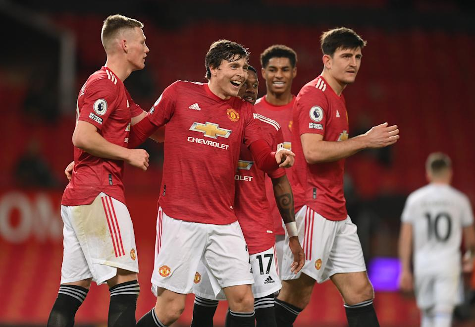 Manchester United's Victor Lindelof (second from left) celebrates scoring their fourth goal against Leeds.
