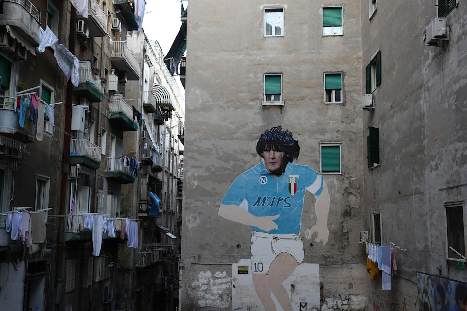 NAPLES, ITALY - FEBRUARY 25: Street art showing ex Napoli player Diego Maradona in the city of Naples ahead of the UEFA Champions League round of 16 first leg match between SSC Napoli and FC Barcelona at Stadio San Paolo on February 25, 2020 in Naples, Italy. (Photo by Michael Steele/Getty Images) (Photo: Getty Images)