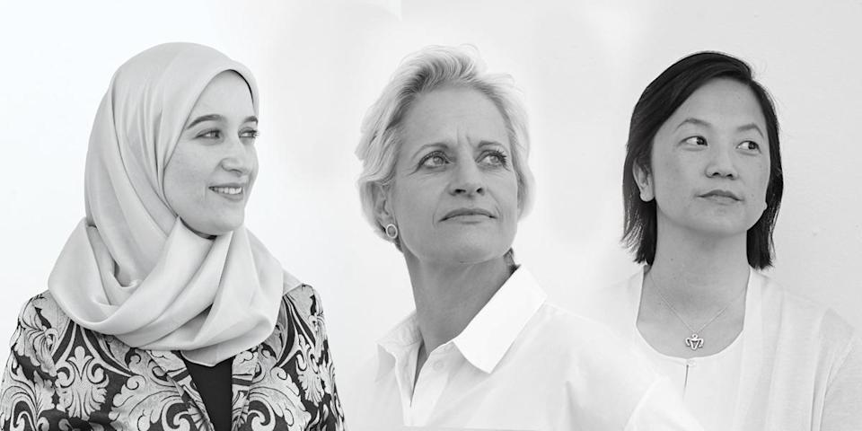 Female scientists, including therapist Hadia Zarzour, geneticist Yael Joffe, and Sophia Yen, co-founder of Pandia Health, are fronting a new skin-care campaign by Perricone MD called Born Seekers. (Photos: Jack McDonald/courtesy of Perricone MD)