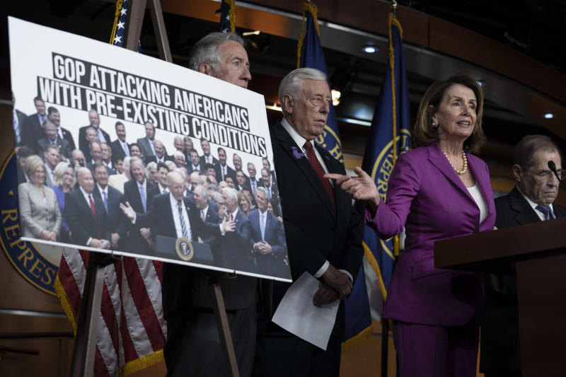 WASHINGTON, DC - JUNE 13: House Minority Leader Nancy Pelosi, (D-CA) gestures during a news conference held by House Democrats condemning the Trump Administration's targeting of the Affordable Care Act's pre-existing condition, in the US Capitol on June 13, 2018 in Washington, DC. (Photo by Toya Sarno Jordan/Getty Images)