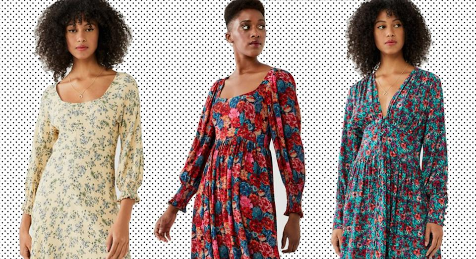 Ghost has a sale with up to 50% off womenswear, including these very chic dresses.  (Ghost/ Yahoo Life UK)