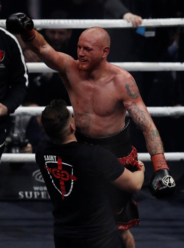 Boxing - World Boxing Super Series Semi Final - George Groves vs Chris Eubank Jr - WBA & IBO World Super-Middleweight Titles - Manchester Arena, Manchester, Britain - February 17, 2018 George Groves celebrates with Shane McGuigan after the fight Action Images via Reuters/Lee Smith