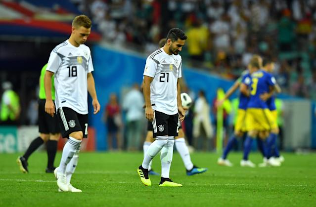 Soccer Football - World Cup - Group F - Germany vs Sweden - Fisht Stadium, Sochi, Russia - June 23, 2018 Germany's Ilkay Gundogan looks dejected before the start of the second half REUTERS/Dylan Martinez