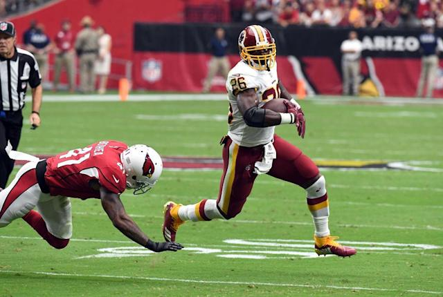 Adrian Peterson is making history with Washington. (Getty)
