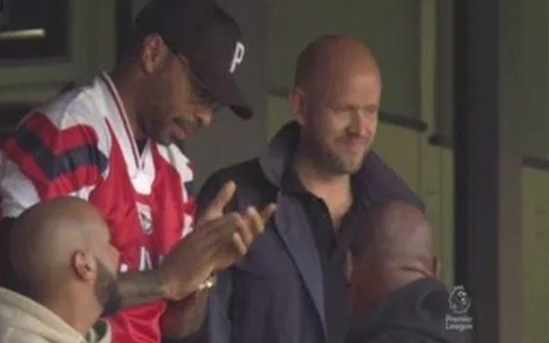 Thierry Henry and Daniel Ek in the crowd at the Emirates Stadium - PREMIER LEAGUE