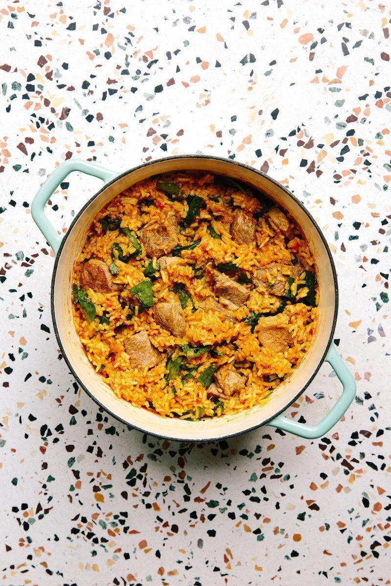 """<p>Lamb biryani is such a gorgeous, and fragrant Indian dish filled with tender bits of <a href=""""https://www.delish.com/uk/cooking/recipes/a29577698/lamb-rogan-josh/"""" rel=""""nofollow noopener"""" target=""""_blank"""" data-ylk=""""slk:lamb"""" class=""""link rapid-noclick-resp"""">lamb</a>, fluffy rice and spices. This great one-pot version is from The Hungerpots Cookbook, and although it's not strictly traditional, it's absolutely the easiest one we've ever made.</p><p>Get the <a href=""""https://www.delish.com/uk/cooking/recipes/a30295014/lamb-biryani/"""" rel=""""nofollow noopener"""" target=""""_blank"""" data-ylk=""""slk:Lamb Biryani"""" class=""""link rapid-noclick-resp"""">Lamb Biryani</a> recipe.</p>"""