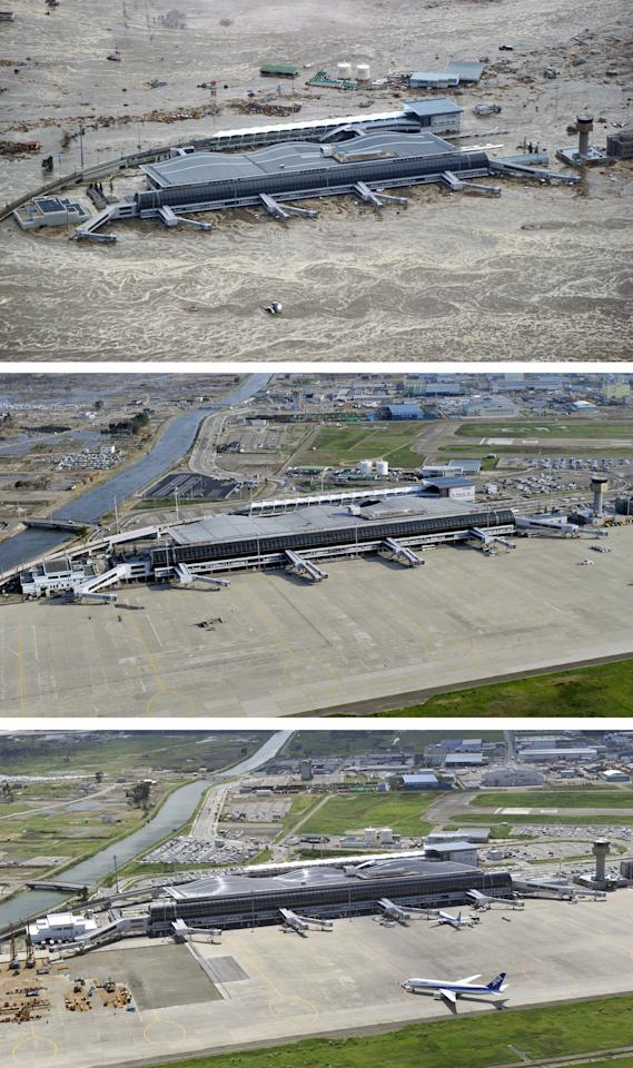 This combination of three photos taken over a six month period shows the March 11 tsunami and its aftermath at Sendai Airport in Sendai, Miyagi prefecture, northern Japan. The top photo taken March 11, 2011 shows the tsunami engulfing the airport immediately after an earthquake. The middle photo, taken June 3, 2011 and the bottom photo, taken Sept. 6, 2011 show the restored and reopened airport. (AP Photo/Kyodo News) JAPAN OUT, MANDATORY CREDIT, NO LICENSING IN CHINA, FRANCE, HONG KONG, JAPAN AND SOUTH KOREA