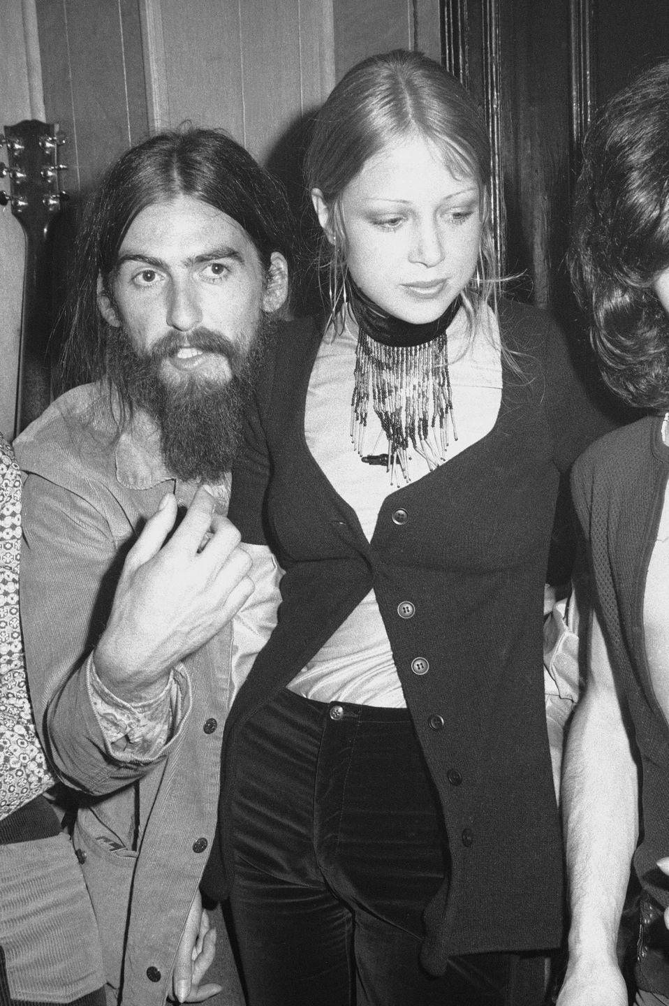 <p>George Harrison and his first wife Patti Boyd at a party, 1971.</p>