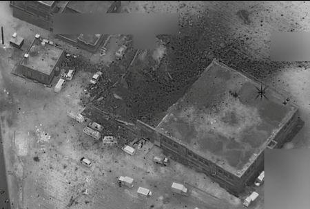 A Pentagon aerial image to illustrate the location that U.S. struck in Jinah Syria