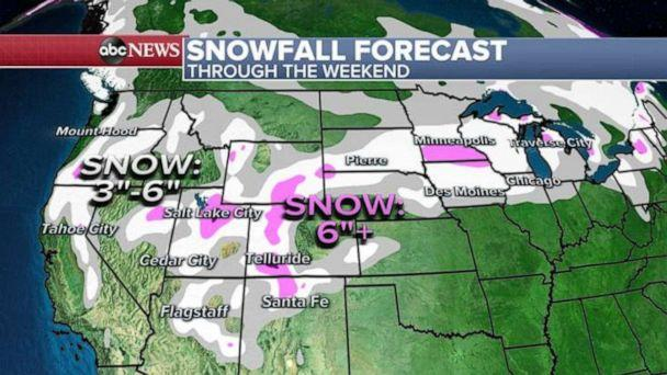 PHOTO: The storm will bring snow to from the Plains into the Great Lakes. Des Moines, Twin Cities, Green Bay and the west of Chicago will see the heaviest snow, Jan. 21, 2021. (ABC News)
