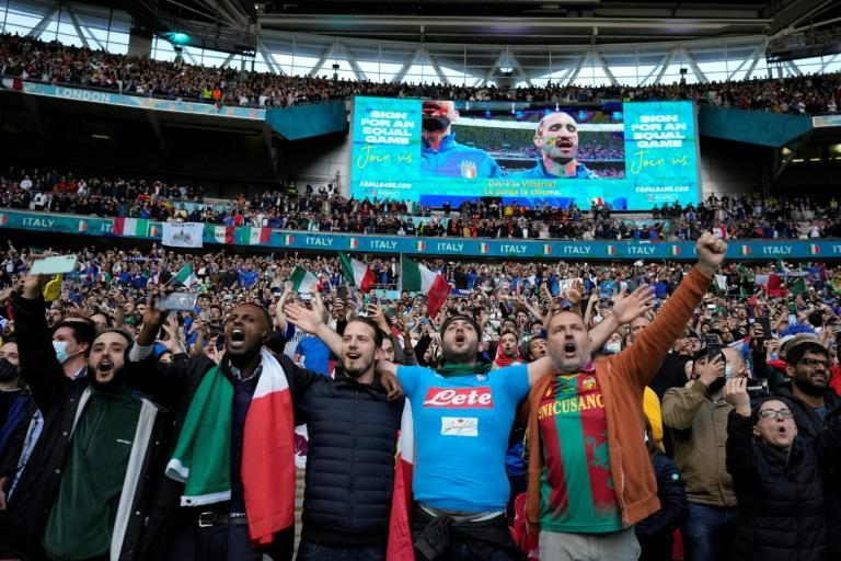 Thousands of Italian and Spanish fans created a boisterous atmosphere in a 60,000 crowd at Wembley