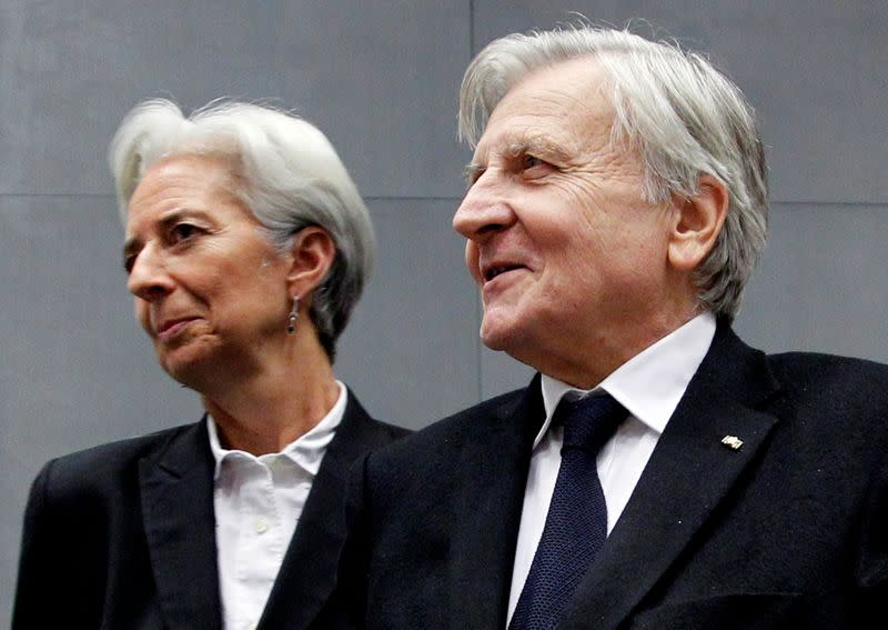 FILE PHOTO: France's Finance Minister Lagarde and ECB President Trichet arrive at a meeting on the European Stability Mechanism in Luxembourg