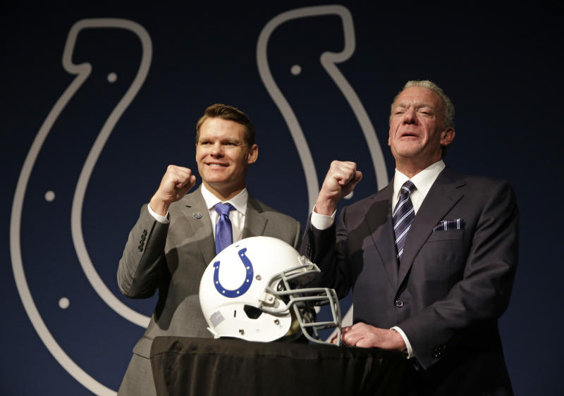The Colts' Chris Ballard (L) has a solid reputation as a general manager dealing with coaches. Team owner Jim Irsay presents challenges. (AP)