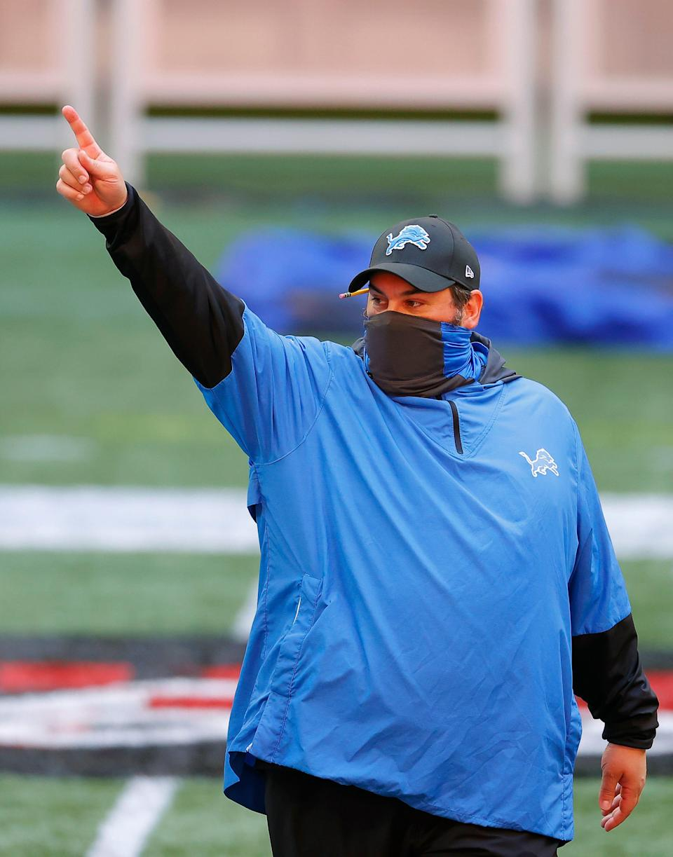 Lions coach Matt Patricia looks on during warmups before the Lions' 23-22 win on Sunday, Oct. 25, 2020, in Atlanta.