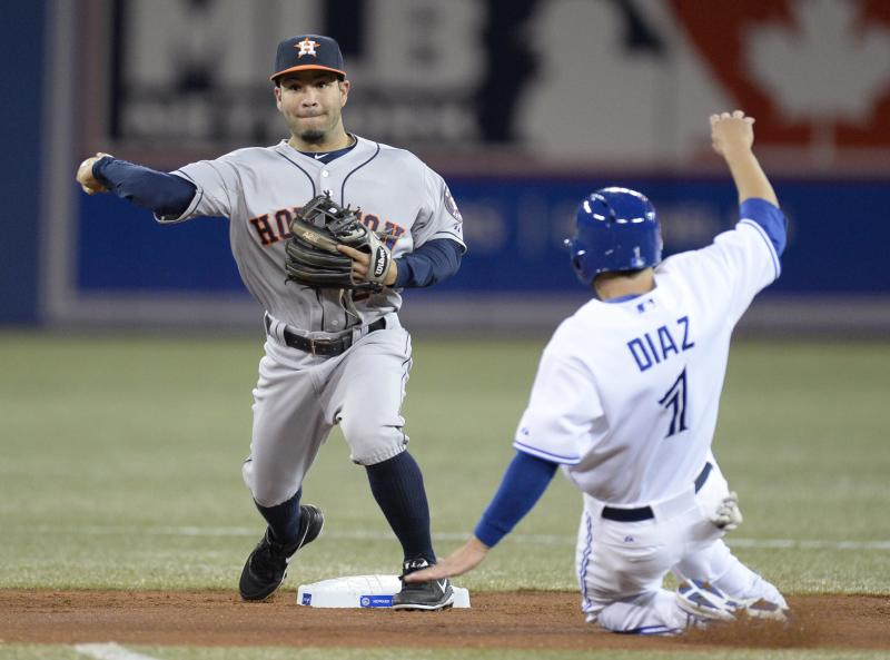 Houston Astros shortstop Jonathan Villar throws to first for the double play as Toronto Blue Jays' Jonathan Diaz is out at second during the third inning of baseball game in Toronto on Thursday, April 10, 2014. Melky Cabrera was out at first. (AP Photo/The Canadian Press, Frank Gunn)